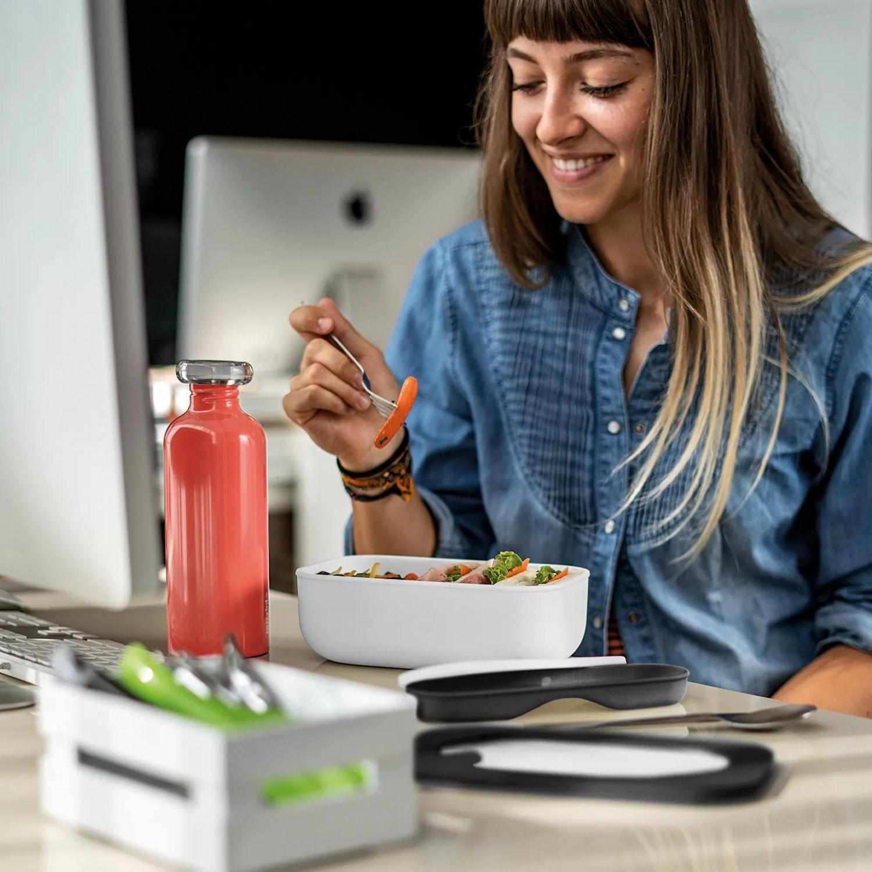 Guzzini STORE&GO lunchbox z pojemnikami i sztućcami
