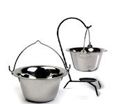 Kociołki do gotowania emaliowane, stalowe, miedziane. Akcesoria do kociołków na piknik lub biwak