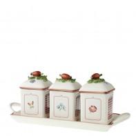 Villeroy & Boch Petite Fleur Charm pojemniki na d�em na tacy, 3 szt