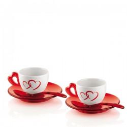 Guzzini Love filiżanki do espresso ze spodkami i łyżeczkami, 2 sztuki