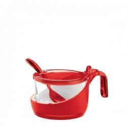 Guzzini Mirage cukiernica z łyżeczką, czerwona