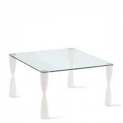 Slide Prince stół ze szklanym blatem, kwadratowy