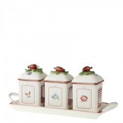 Villeroy & Boch Petite Fleur Charm pojemniki na dżem na tacy, 3 szt