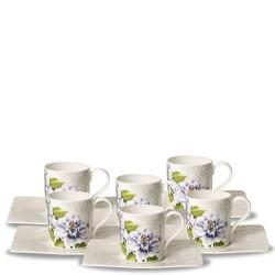 Villeroy & Boch Quinsai Garden zestaw filiżanek do kawy ze spodkiem,6 sztuk