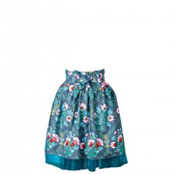 Aleksandra Kwiaty błękitne i szare Apronessa jak spódnica z tiulem