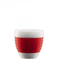 Bodum Pavina porcelanowe kubki, czerwone, 2 szt