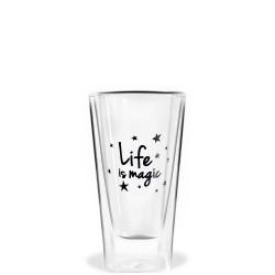 Vialli Design Vita szklanka wysoka z podwójną ścianką Life is magic