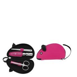 Zwilling Classic Inox Twin Kids Podróży zestaw do pielęgnacji w etui w kształcie myszki, 3 elementy