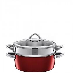 Vitaliano Rosso garnek z wkładem do gotowania na parze