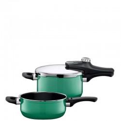 Silit Econtrol Nature Green Duo zestaw szybkowar i patelnia szybkowarowa pojemność 4,5li3l