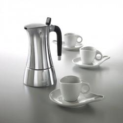 Casa Bugatti Milla zestaw kawiarka 3cup + 3 filiżanki do kawy ze spodkiem