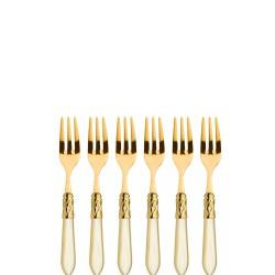 Casa Bugatti ALADDIN GOLD Komplet 6 widelczyków do ciasta