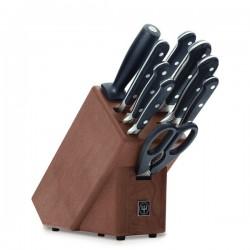 Wusthof Classic blok noży, 6 noży, ostrzałka, nożyce, widelec
