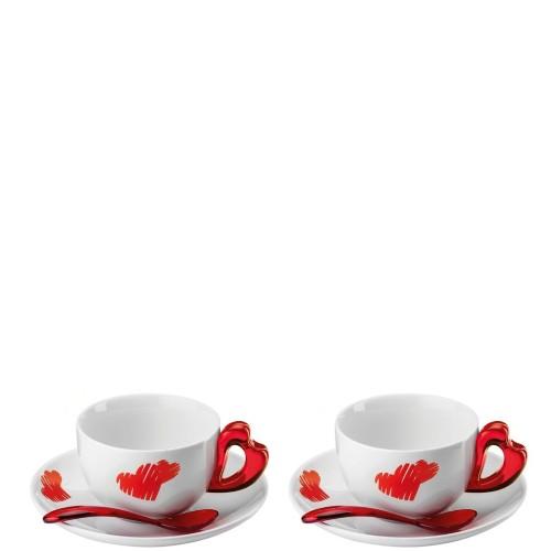 Guzzini Love filiżanki do cappuccino ze spodkami i łyżeczkami, 2 sztuki