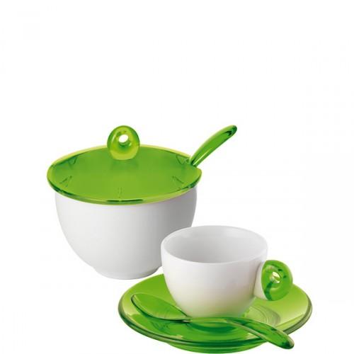 Guzzini Art & Cafe filiżanki espresso 2 szt i cukiernica, zielone