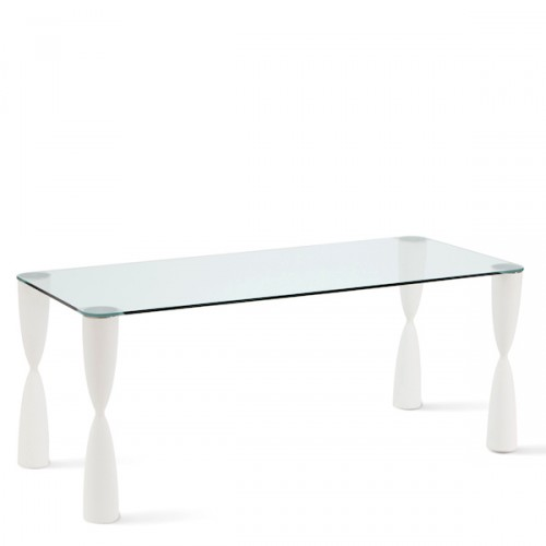 Slide Prince stół ze szklanym blatem, prostokątny