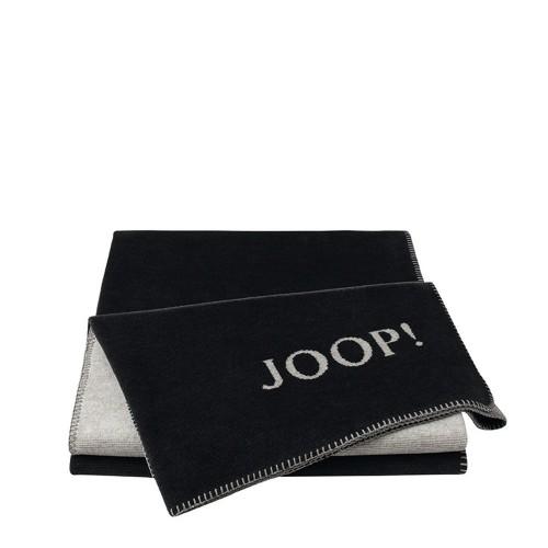 JOOP! Melange Antrazit-Silver dwustronny koc bawełniano-akrylowy