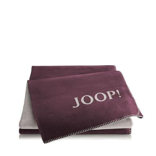 JOOP! Melange Bordeaux-Grey dwustronny koc bawełniano-akrylowy