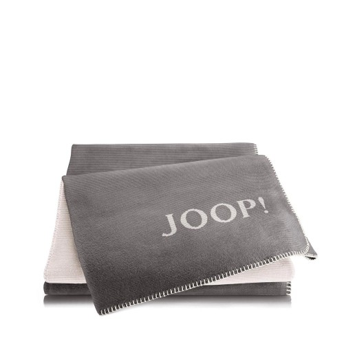 JOOP! Melange Grey-Ecru dwustronny koc bawełniano-akrylowy