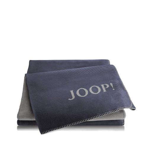 JOOP! Melange Marine-Grey dwustronny koc bawełniano-akrylowy
