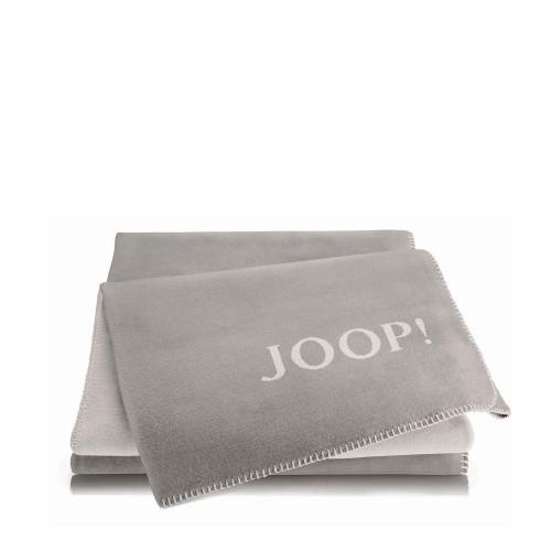 JOOP! Doubleface Uni Smoke-Ecru dwustronny koc bawełniano-akrylowy