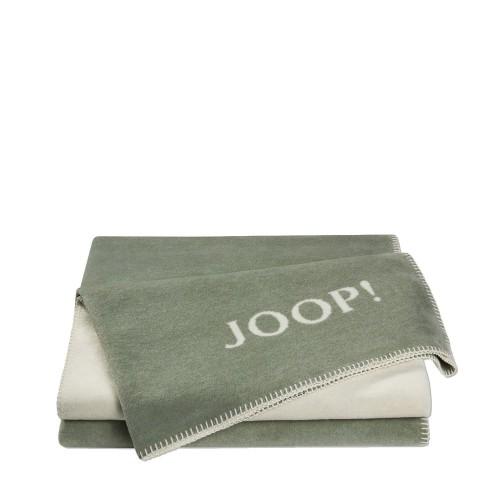 JOOP! Doubleface Uni Sage-Natur dwustronny koc bawełniano-akrylowy