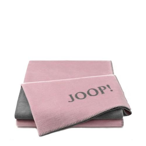JOOP! Doubleface Uni Rose-Grey dwustronny koc bawełniano-akrylowy