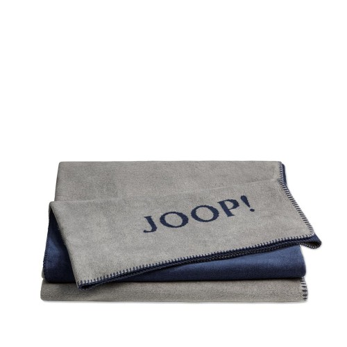 JOOP! Doubleface Uni Grey-Marine dwustronny koc bawełniano-akrylowy