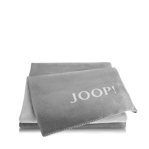 JOOP! Doubleface Uni Grey-Ash dwustronny koc bawełniano-akrylowy