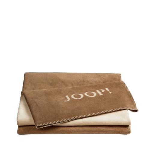 JOOP! Doubleface Uni Caffe-Natur dwustronny koc bawełniano-akrylowy