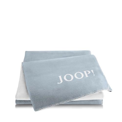 JOOP! Doubleface Uni Blue-Natur dwustronny koc bawełniano-akrylowy