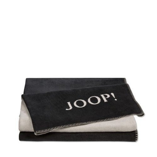 JOOP! Doubleface Uni Antrazit dwustronny koc bawełniano-akrylowy