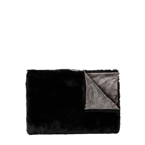 JOOP! Smooth Black koc ze sztucznego futra imitującego naturalne futro