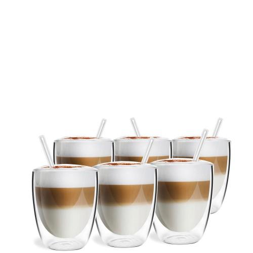 Vialli Design VITA Zestaw 6 szklanek z podwójną ścianką ze słomkami