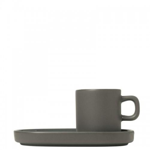 Blomus PILAR Pewter Zestaw 2 kubków do espresso z podstawkami