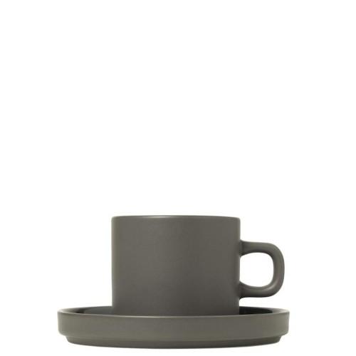 Blomus PILAR Pewter Zestaw 2 Kubków do kawy z podstawkami