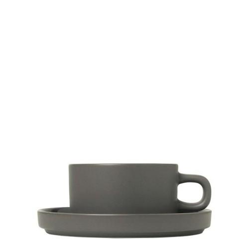 Blomus PILAR Pewter Zestaw 2 kubków do herbaty z podstawkami