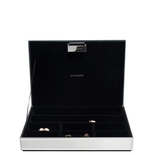 Stackers Classic Velvet Szkatułka na biżuterię szklana z pokrywką z czarną wyściółką