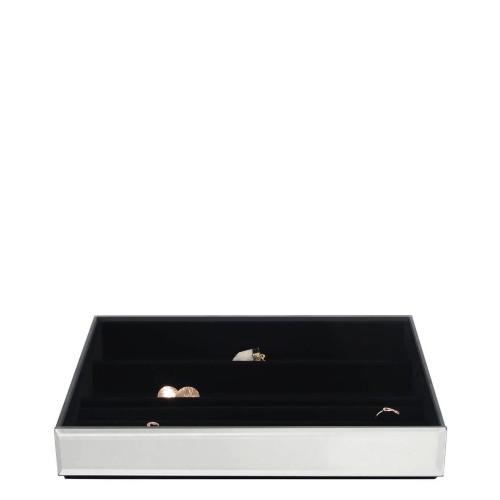 Stackers Classic Velvet Szkatułka na biżuterię 4 komorowa, szklana z czarną wyściółką