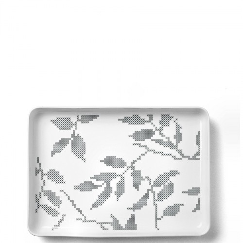 Menu Grey Leaves taca do serwowania prostokątna