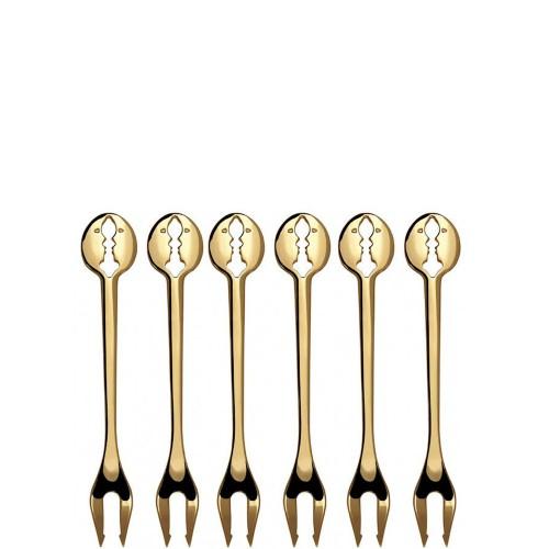 Casa Bugatti Kiss Gold Zestaw 6 widelczyków do ciasta