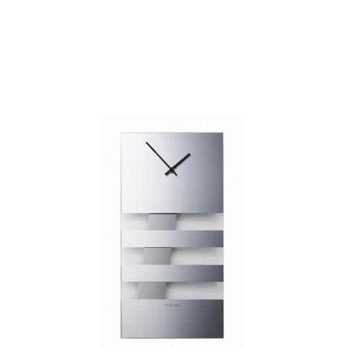 NeXtime Bold Stripes zegar ścienny, srebrny