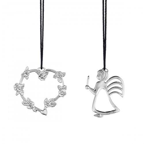 Rosendahl Heart with flower rank and angel with light zawieszki, 2 szt.
